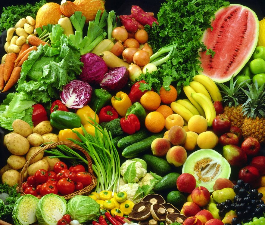 mixed selection of fruit and vegetables